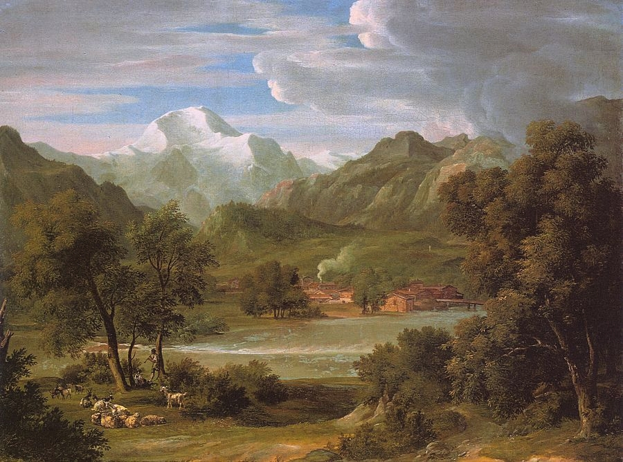 Oil Painting Of Village On River